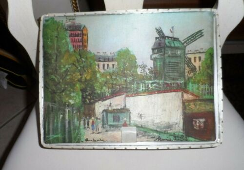 Vintage Hanes Hosiery Box with silk like exterior and windmill  city scene
