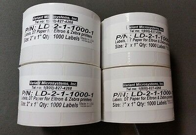 Direct Thermal 2x1 Paper Barcode Labels For Zebra 28242844gkgx 4 Rolls Lot