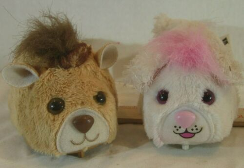 LOT OF 2  Hasbro FurReal Friends Snuggimals Hamster PUPPY WHITE/BROWN SMALL PETS