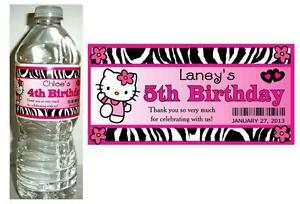 20 HELLO KITTY ZEBRA BIRTHDAY PARTY FAVORS ~ WATER BOTTLE LABELS