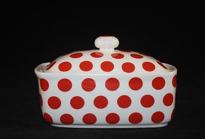 BONE CHINA BUTTER DISH RED POLKA DOT SPOT HAND DECORATED IN ENGLAND NEW