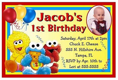 Sesame Street Photo Invitations (BABY SESAME STREET ELMO BIRTHDAY PARTY INVITATIONS)