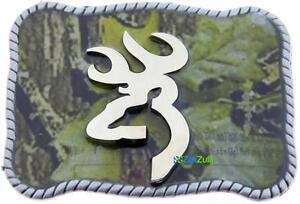 Camouflage Buck Hunter Deer Hunting Bow Western Logo Belt Buckle