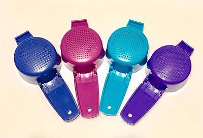 Tupperware 4 Mini Strainers Sifter Tea Craft Gadgets Purple Fuchsia Blue New