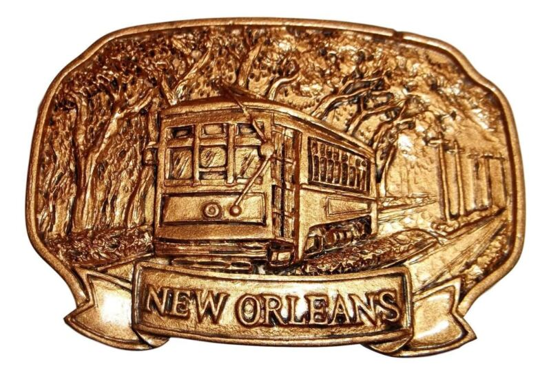 Golden Streetcar on St Charles Mardi Gras New Orleans Magnet Party Favor