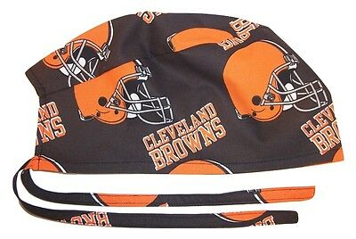 Surgical Scrub Hat Cap Made With Cleveland Browns NFL Fabric Nurse Doctor Chemo Cleveland Browns Nfl Pattern