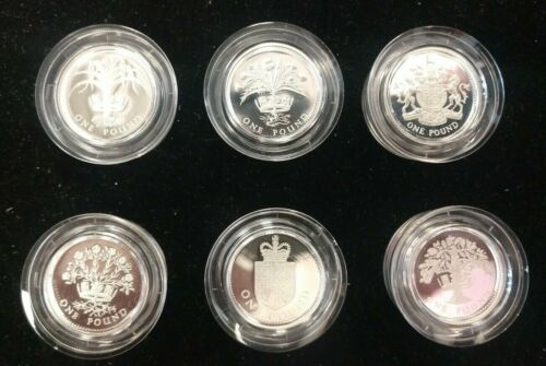 Group of (6) 2 Pound Sterling Silver Proof Piedfort Coins from the UK