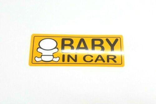 Baby in Car Orange Black White Printed Vinyl Sticker Decal Window Bumper