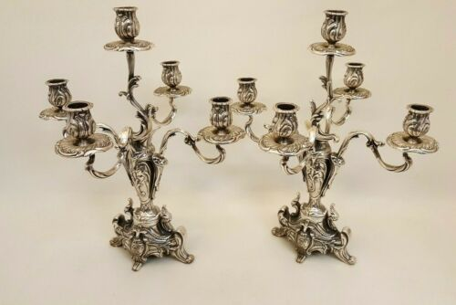 """Ornate art nouveau 5 light candelabra pair made in Italy 16 3/4"""" tall 14 1/2"""" W"""