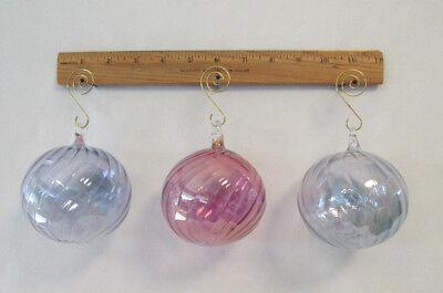 SET OF 3 VINTAGE 1960s GLASS CHRISTMAS TREE ORNAMENTS LIGHT BLUE ROSE 3 - Light Blue Christmas Ornaments