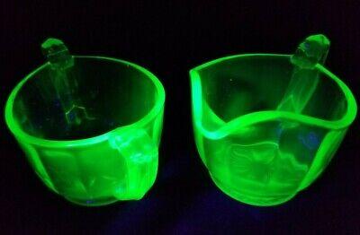 Depression Glass Paneled Sugar Creamer Uranium Vaseline Vintage Trophy Handles