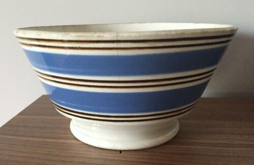 Mochaware Mixing Bowl White Blue Brown Stripe Footed Antique Vintage 8""