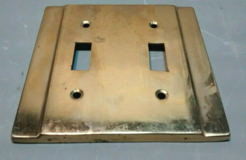 Vintage Art Deco Style Solid Brass Double Light Switch Plate Cover