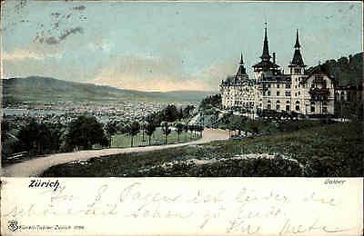Zürich Schweiz Litho-AK franiert 1907 gelaufen Blick auf das Grand Hotel Dolder