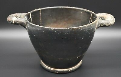 Ancient Greek black ware bowl with handles 500 - 400 BC