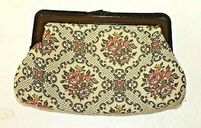 1920s Handbags, Purses, and Shopping Bag Styles Bakelite Vintage 1920s 30s Clutch Floral Linen Lined Purse $41.99 AT vintagedancer.com