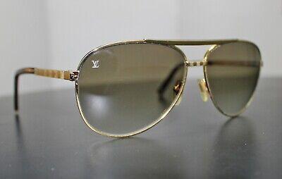 Men's gold-tone metal Louis Vuitton Attitude Pilote sunglasses with damier logo (Louis Vuitton Pilot Sunglasses)