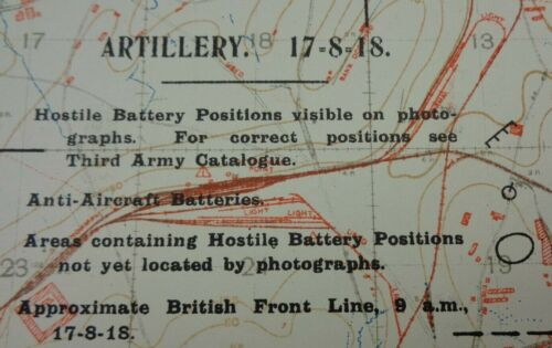 """WW1 (1918) """"SPECIAL SHEET"""" - ARTLLERY POSITIONS + ENEMY ORGANISATION TRENCH MAP"""