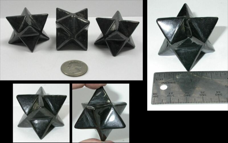 1 RUSSIAN SHUNGITE Crystal Merkaba Star - Vitality, Connect w/ Mother Earth!