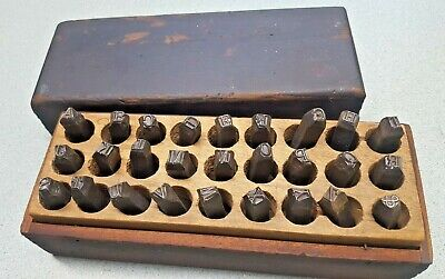 Vintage Set Letters Punch Steel Stamps Wood Box 14 Serifs Cool Old School