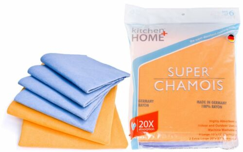 Shammy Towels Super Absorbent German Cleaning Chamois (4 Large & 2 XLG) 6 Pack