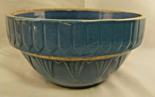 """Early Brush McCoy Yellow Ware Blue Mixing Bowl Scalloped 1920s Deco 8.5"""" Across"""