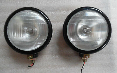 A Pair Of Gloss Black Vertical Headlights For Nuffield Massey Ford Tractors