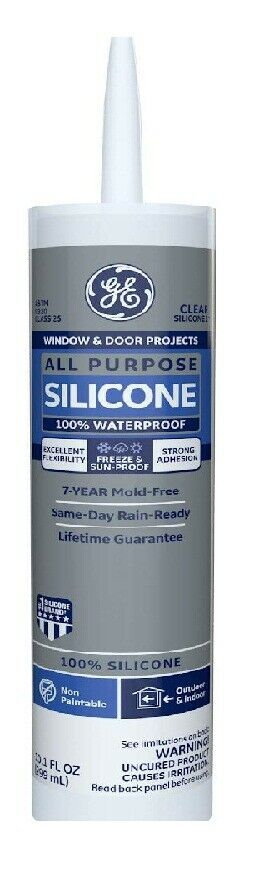 GE GE012A Silicone 1 All Purpose Sealant Caulk, 10.1oz, Clea