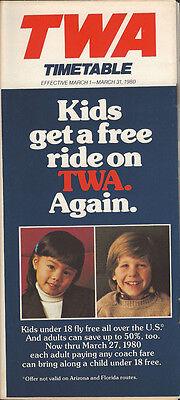 TWA system timetable 3/1/80 [308TW] Buy 2 Get 1 Free