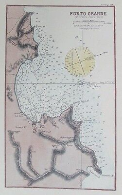 OLD ANTIQUE MAP SEA CHART PORTO GRANDE CAPE VERDE c1900 SAO VICENTE ATLANTIC