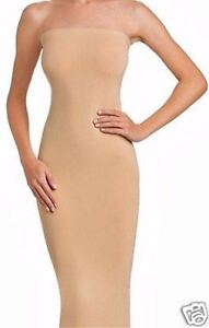 WOLFORD FATAL DRESS in TAPIOCA - BODYCON TUBE STRAPLESS STRETCH SKIRT TOP S or M