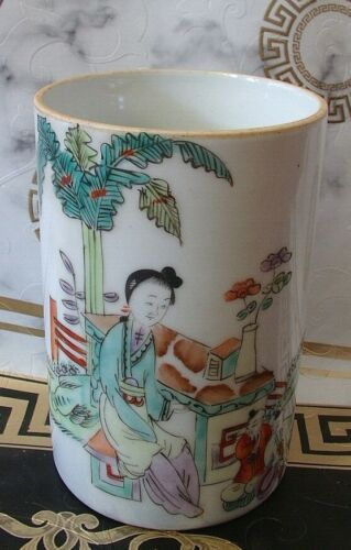 ANTIQUE BOTTLE VASE BRUSH POT CHINESE PORCELAIN SIGNE
