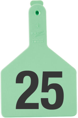 """Z-TAG COW TAG ONE PIECE 3"""" W x 4-1/2"""" H Hot-Stamped Ear Tags #26-50 GREEN 25ct"""