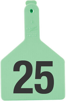 Z Tags Cow Ear Tags Green Numbered 26-50