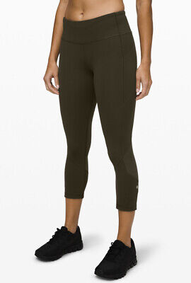 Lululemon PACE RIVAL Luxtreme Mesh Crop 22 Cropped Leggings 10 OLIVE
