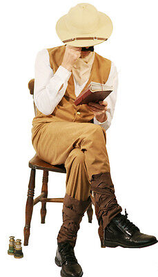 VICTORIAN-STEAMPUNK-MAD ARCHEOLOGIST Explorer Fancy Dress Includes Hat Sml-xxxxl (Archeologist Costume)