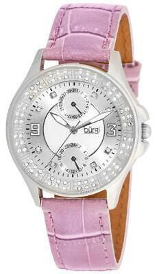 Burgi BUR044PU Diamond Classic GMT Date Leather Strap Womens Watch