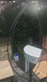 Mirror - Oval Wall Mirror with Iron Frame/Surround