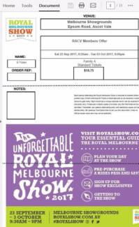 Royal Melbourne Show : Family A pass (2 adults and 2 children)