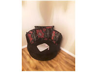 4 piece Right Hand Corner Suite, Swivel Love Chair and Footstool, Velour &Faux Leather.