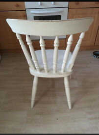 4 x solid oak shabby chic dining chairs