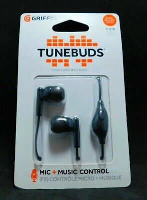 #665B    New Griffin Tunebuds 3.5mm Stereo Handsfree Headset Black Griffin Stereo