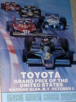 Original 1977 Watkins Glen Poster F1 USGP poster Mario Andretti Lotus ticket for sale  Niagara Falls