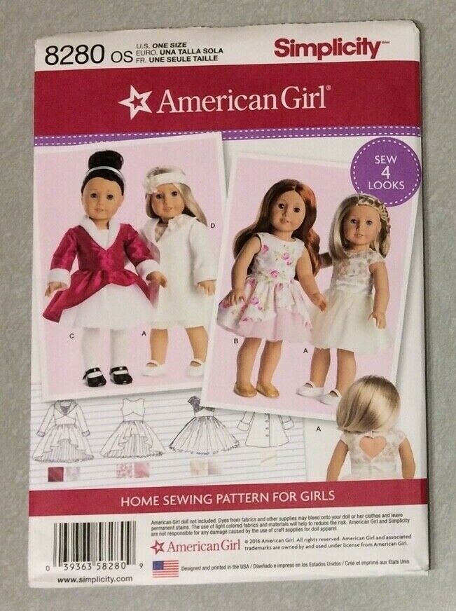 Simplicity Doll Clothes 8280-One Size
