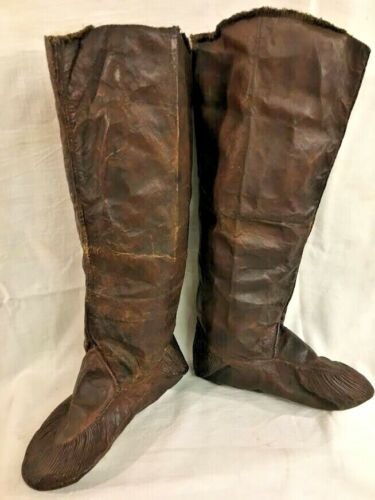 Antique Eastern Inuit or Eskimo Tall Leather Hunting Mukluks Boots, prob. 1800s