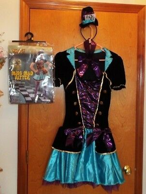 MISS MAD HATTER ADULT COSTUME BY SPIRIT SIZE MEDIUM 8-10. SO CUTE!