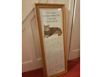 Wooden framed cat poster with inspirational text