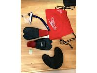 Speedo swimming kit bag: flippers, snorkel and pull buoy
