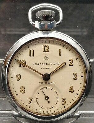 Old Vintage INGERSOLL LTD TRIUMPH Open Face Pocket Watch Working Needs Attention
