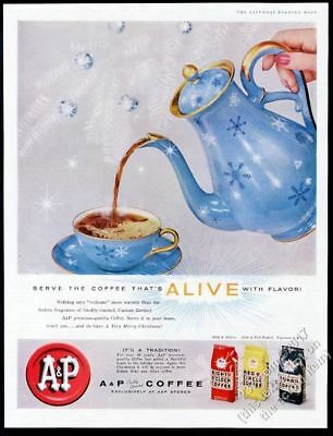 1957 blue snowflake and golf coffee pot cup saucer photo A&P vintage print ad